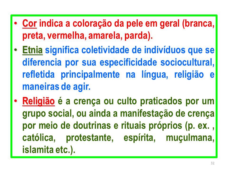Cor Cor indica a coloração da pele em geral (branca, preta, vermelha, amarela, parda). Etnia Etnia significa coletividade de indivíduos que se diferen
