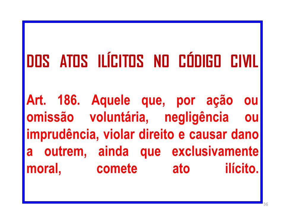 DOS ATOS ILÍCITOS NO CÓDIGO CIVIL Art. 186. Aquele que, por ação ou omissão voluntária, negligência ou imprudência, violar direito e causar dano a out