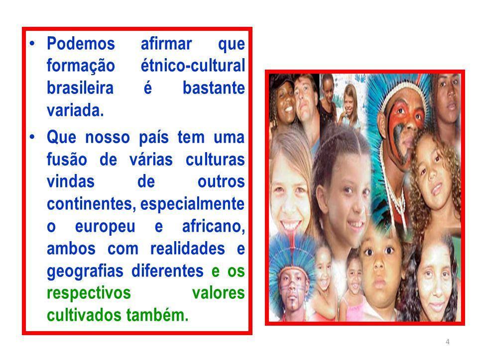 Podemos afirmar que formação étnico-cultural brasileira é bastante variada. Que nosso país tem uma fusão de várias culturas vindas de outros continent