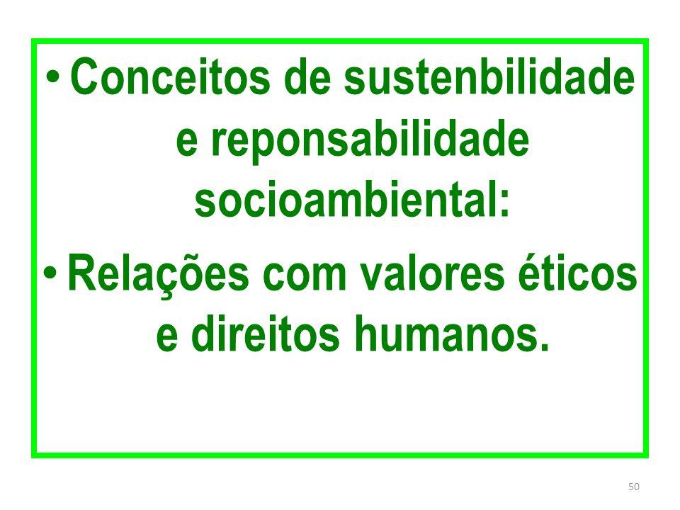 Conceitos de sustenbilidade e reponsabilidade socioambiental: Relações com valores éticos e direitos humanos. 50
