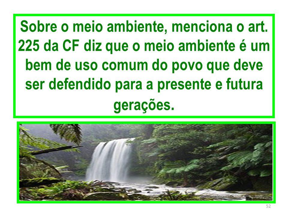 Sobre o meio ambiente, menciona o art. 225 da CF diz que o meio ambiente é um bem de uso comum do povo que deve ser defendido para a presente e futura