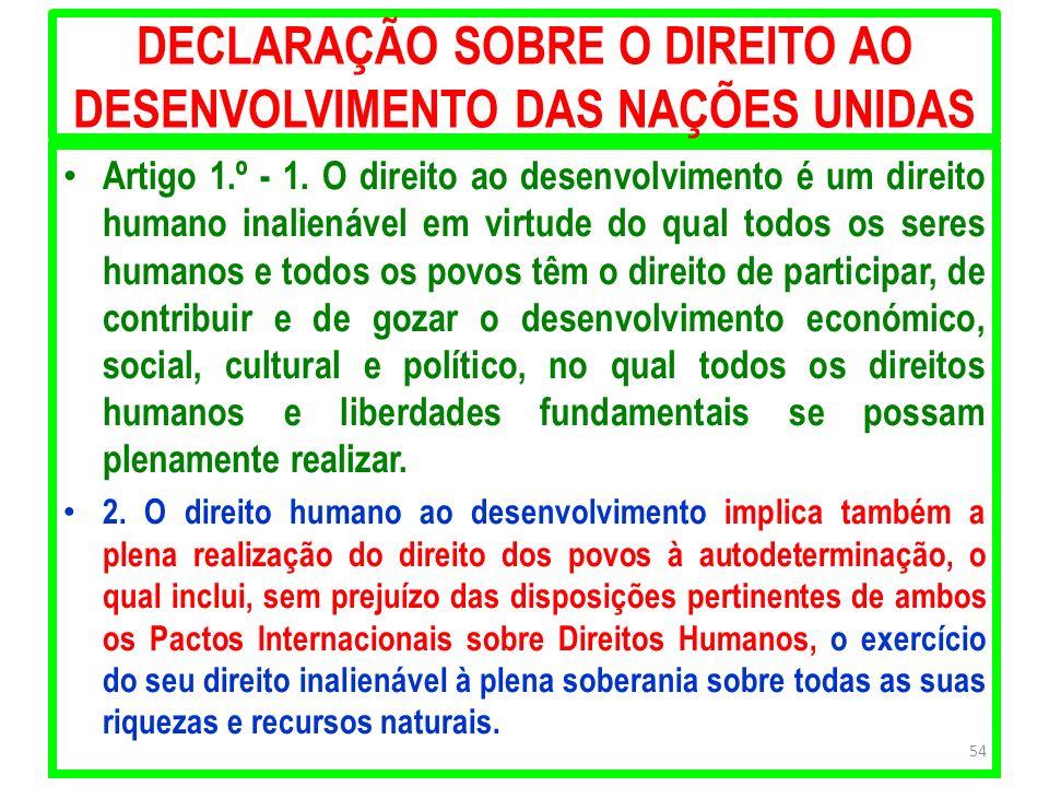 DECLARAÇÃO SOBRE O DIREITO AO DESENVOLVIMENTO DAS NAÇÕES UNIDAS Artigo 1.º - 1. O direito ao desenvolvimento é um direito humano inalienável em virtud
