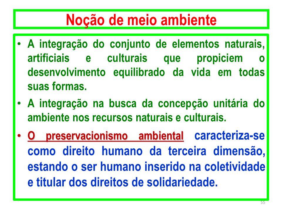 Noção de meio ambiente A integração do conjunto de elementos naturais, artificiais e culturais que propiciem o desenvolvimento equilibrado da vida em