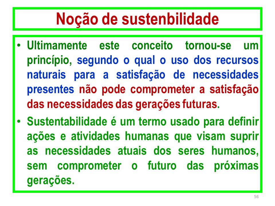 Noção de sustenbilidade Ultimamente este conceito tornou-se um princípio, segundo o qual o uso dos recursos naturais para a satisfação de necessidades
