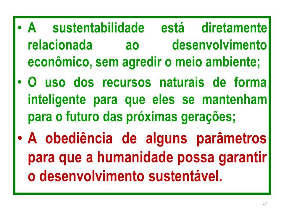A sustentabilidade está diretamente relacionada ao desenvolvimento econômico, sem agredir o meio ambiente; O uso dos recursos naturais de forma inteli