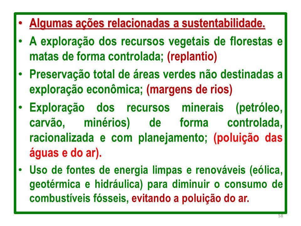 Algumas ações relacionadas a sustentabilidade. Algumas ações relacionadas a sustentabilidade. A exploração dos recursos vegetais de florestas e matas
