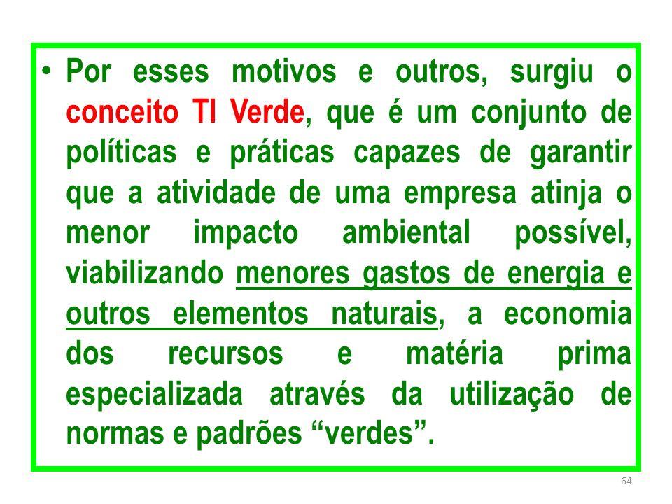 Por esses motivos e outros, surgiu o conceito TI Verde, que é um conjunto de políticas e práticas capazes de garantir que a atividade de uma empresa a