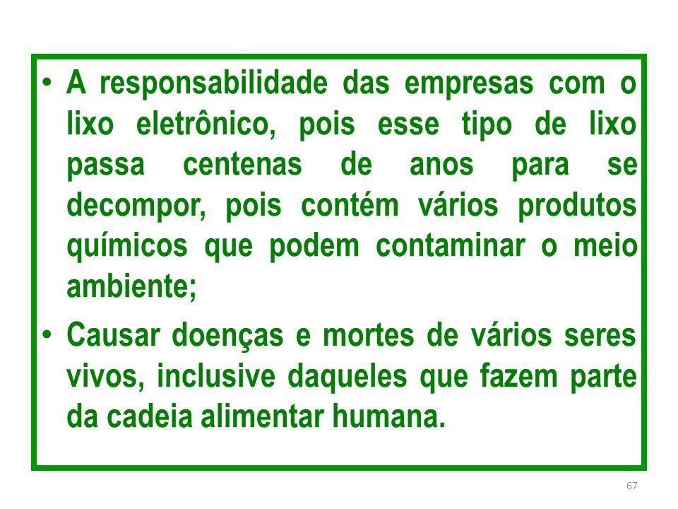 A responsabilidade das empresas com o lixo eletrônico, pois esse tipo de lixo passa centenas de anos para se decompor, pois contém vários produtos quí