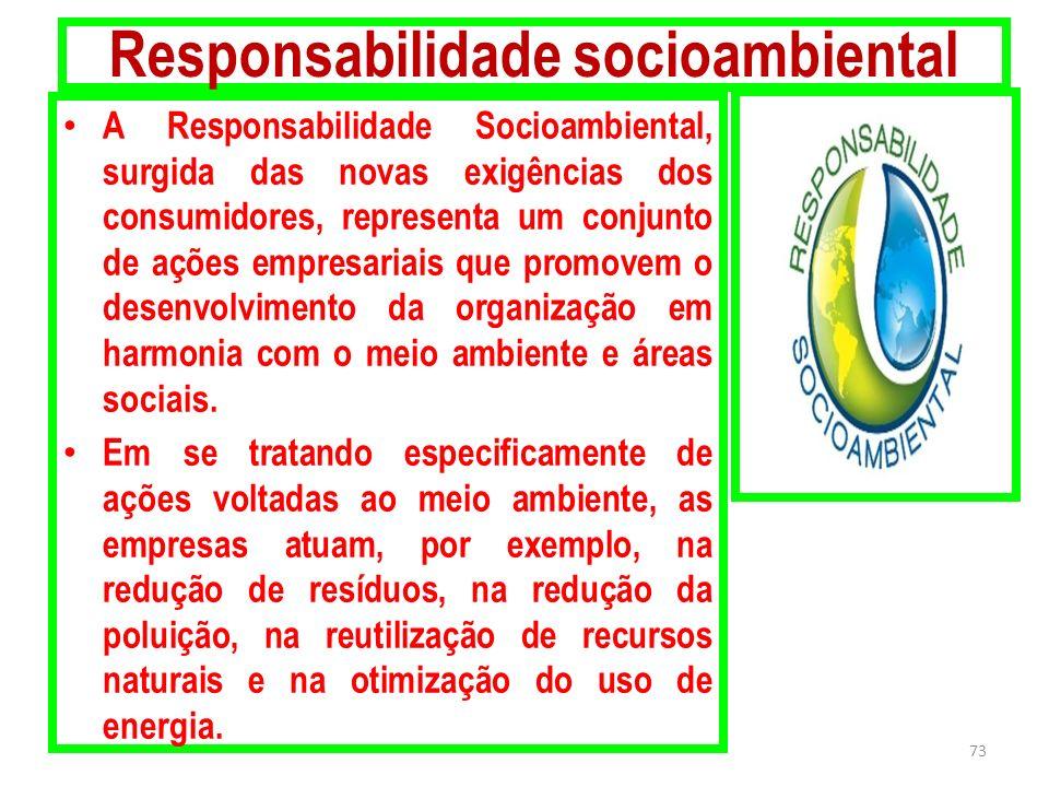 Responsabilidade socioambiental A Responsabilidade Socioambiental, surgida das novas exigências dos consumidores, representa um conjunto de ações empr