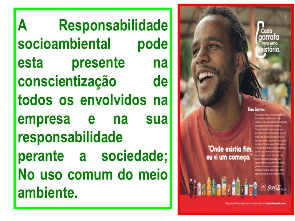 A Responsabilidade socioambiental pode esta presente na conscientização de todos os envolvidos na empresa e na sua responsabilidade perante a sociedad