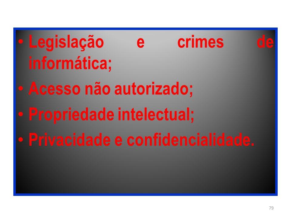 Legislação e crimes de informática; Acesso não autorizado; Propriedade intelectual; Privacidade e confidencialidade. 79