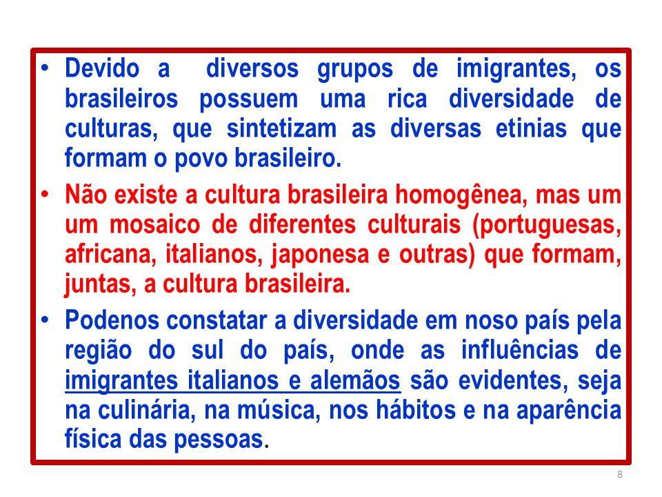 Devido a diversos grupos de imigrantes, os brasileiros possuem uma rica diversidade de culturas, que sintetizam as diversas etinias que formam o povo