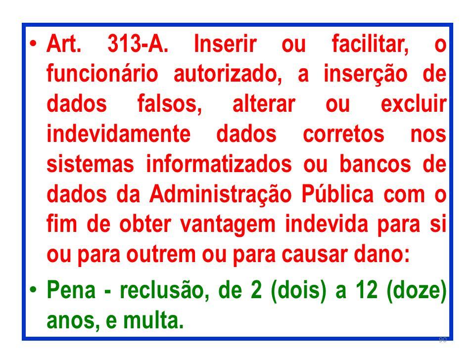 Art. 313-A. Inserir ou facilitar, o funcionário autorizado, a inserção de dados falsos, alterar ou excluir indevidamente dados corretos nos sistemas i