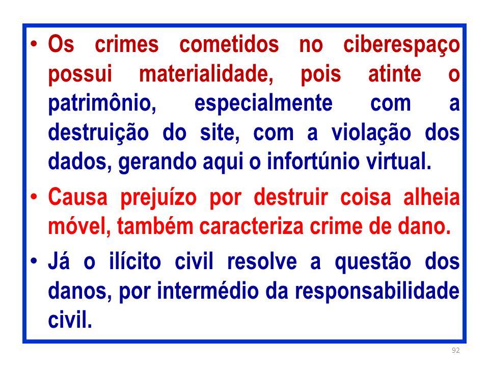 Os crimes cometidos no ciberespaço possui materialidade, pois atinte o patrimônio, especialmente com a destruição do site, com a violação dos dados, g
