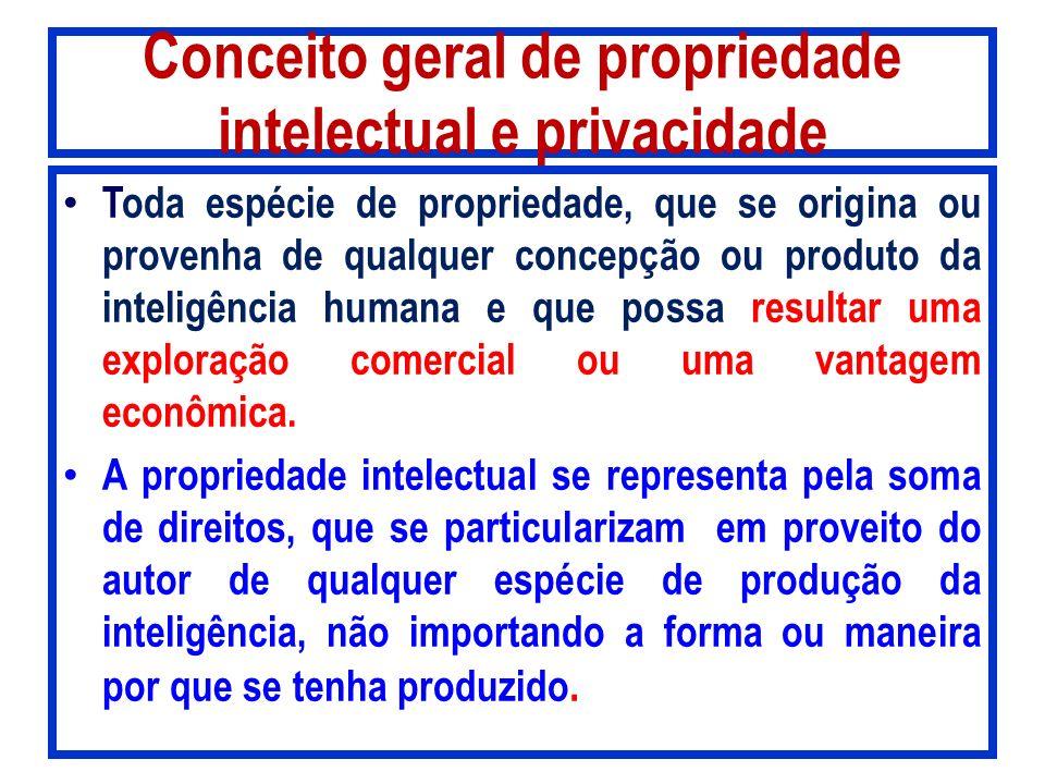 Conceito geral de propriedade intelectual e privacidade Toda espécie de propriedade, que se origina ou provenha de qualquer concepção ou produto da in