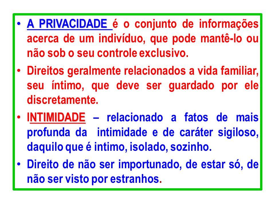 A PRIVACIDADE A PRIVACIDADE é o conjunto de informações acerca de um indivíduo, que pode mantê-lo ou não sob o seu controle exclusivo. Direitos geralm