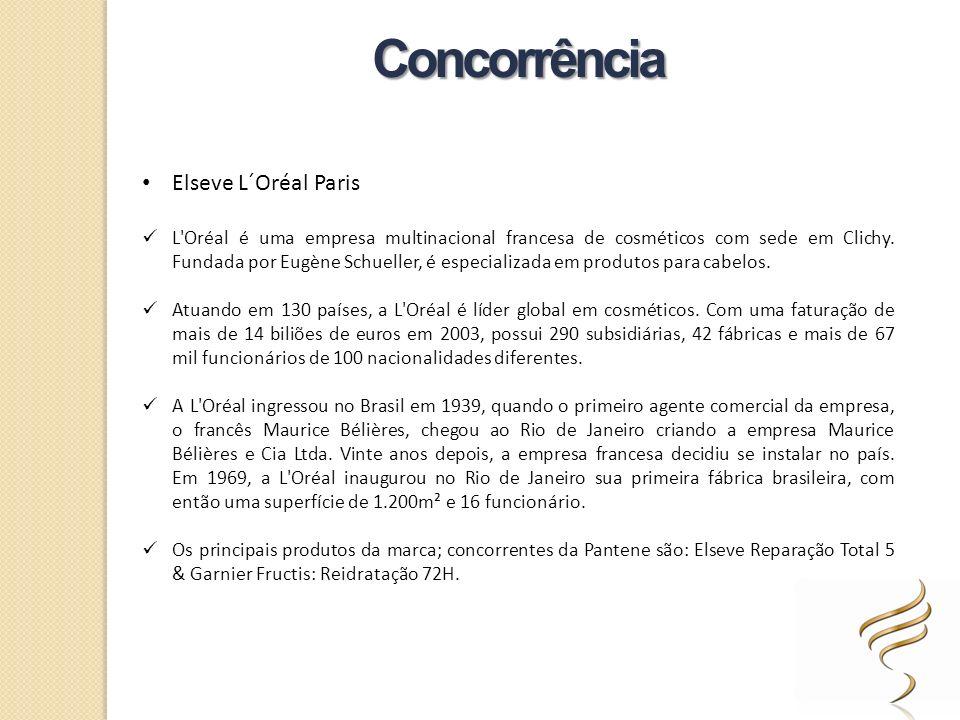 Elseve L´Oréal Paris L'Oréal é uma empresa multinacional francesa de cosméticos com sede em Clichy. Fundada por Eugène Schueller, é especializada em p
