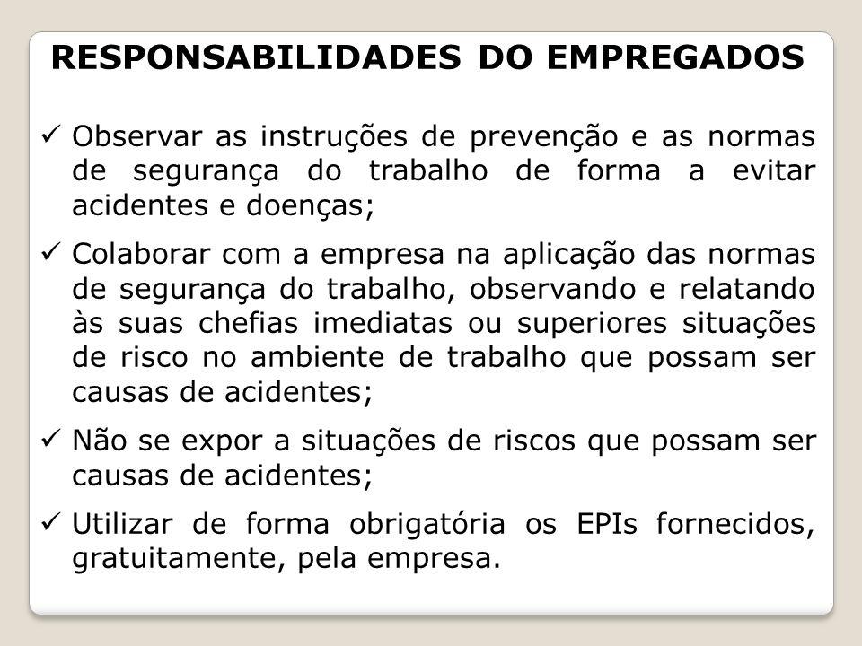 RESPONSABILIDADES DO EMPREGADOS Observar as instruções de prevenção e as normas de segurança do trabalho de forma a evitar acidentes e doenças; Colabo