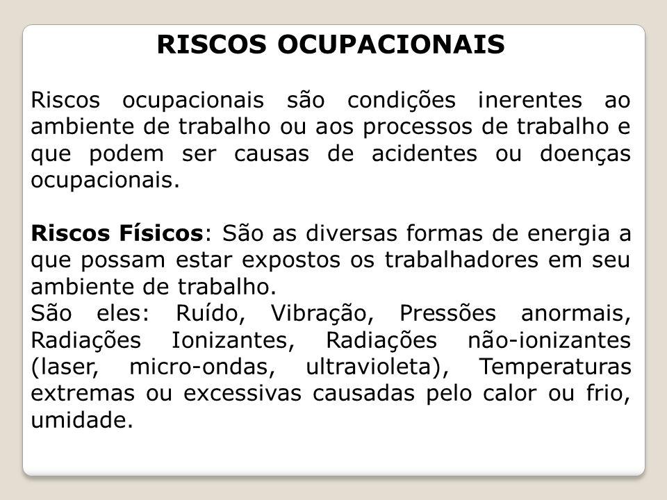 RISCOS OCUPACIONAIS Riscos ocupacionais são condições inerentes ao ambiente de trabalho ou aos processos de trabalho e que podem ser causas de acident