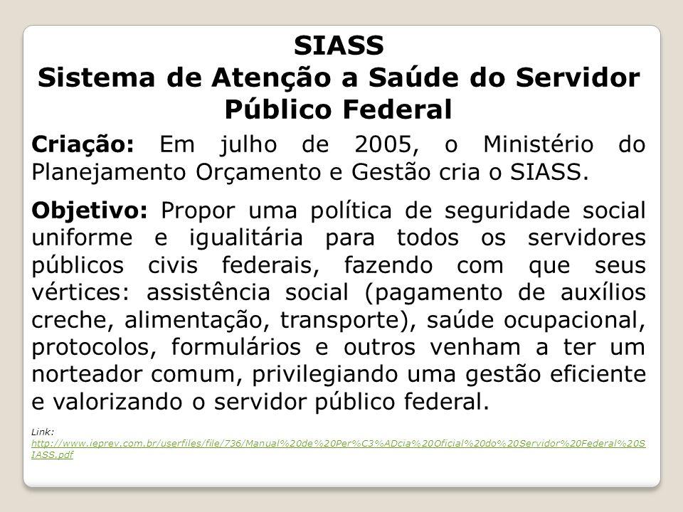 SIASS Sistema de Atenção a Saúde do Servidor Público Federal Criação: Em julho de 2005, o Ministério do Planejamento Orçamento e Gestão cria o SIASS.