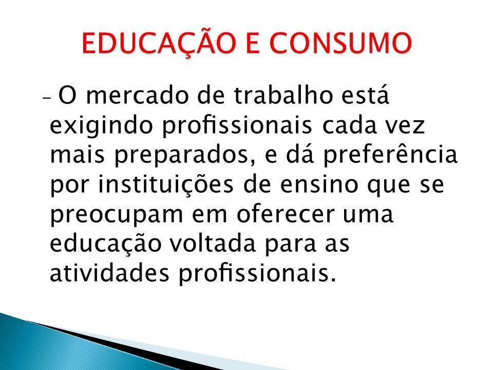 - O mercado de trabalho está exigindo prossionais cada vez mais preparados, e dá preferência por instituições de ensino que se preocupam em oferecer uma educação voltada para as atividades prossionais.