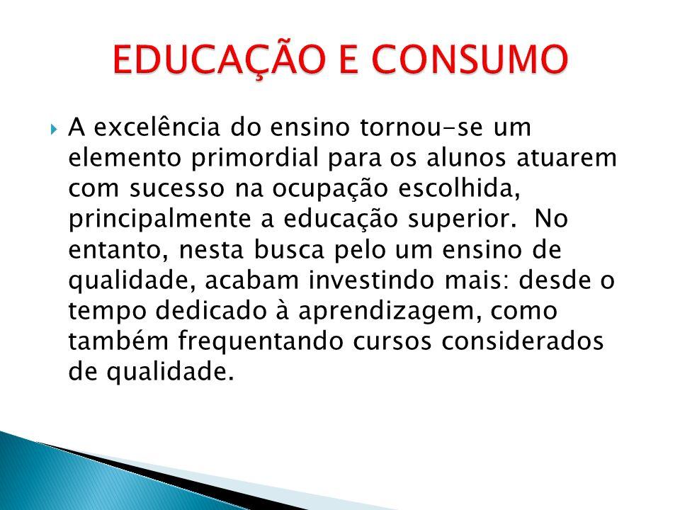 A excelência do ensino tornou-se um elemento primordial para os alunos atuarem com sucesso na ocupação escolhida, principalmente a educação superior.