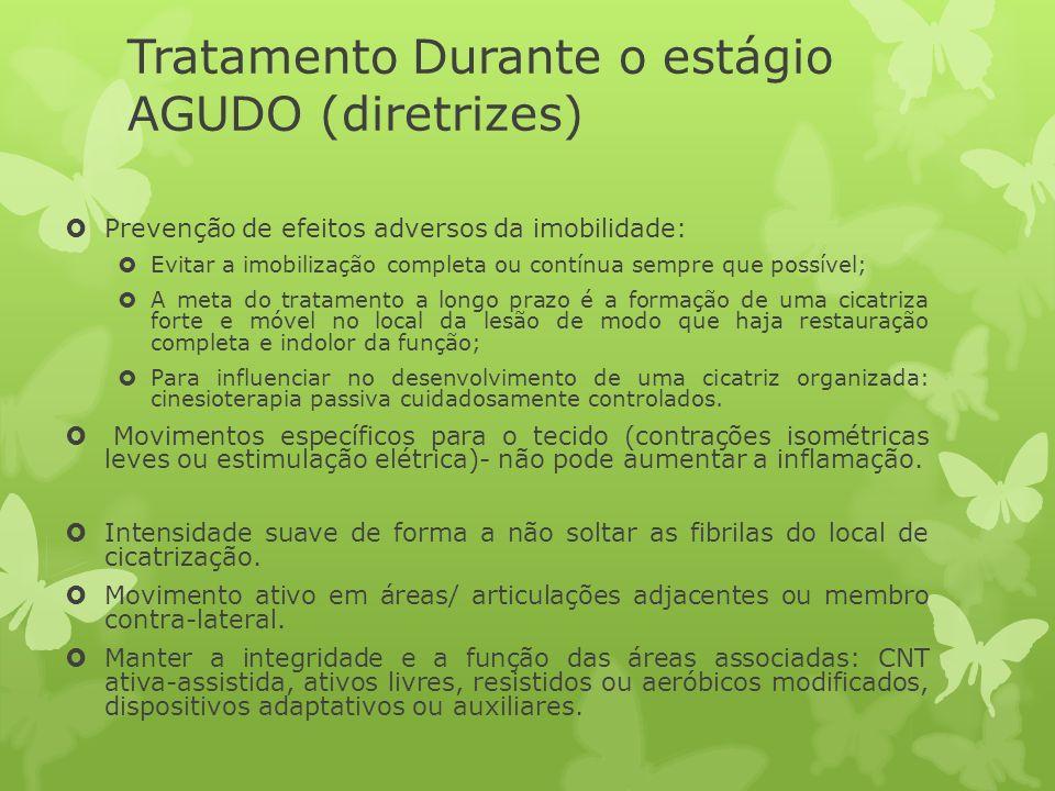 Tratamento Durante o estágio AGUDO (diretrizes) Prevenção de efeitos adversos da imobilidade: Evitar a imobilização completa ou contínua sempre que po