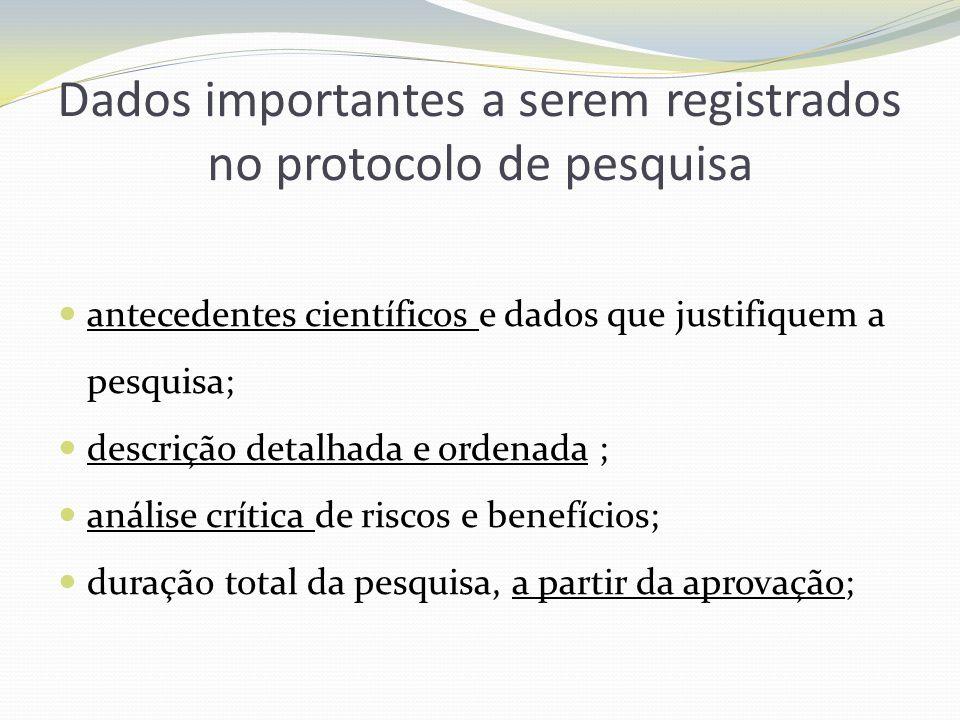 Dados importantes a serem registrados no protocolo de pesquisa antecedentes científicos e dados que justifiquem a pesquisa; descrição detalhada e orde