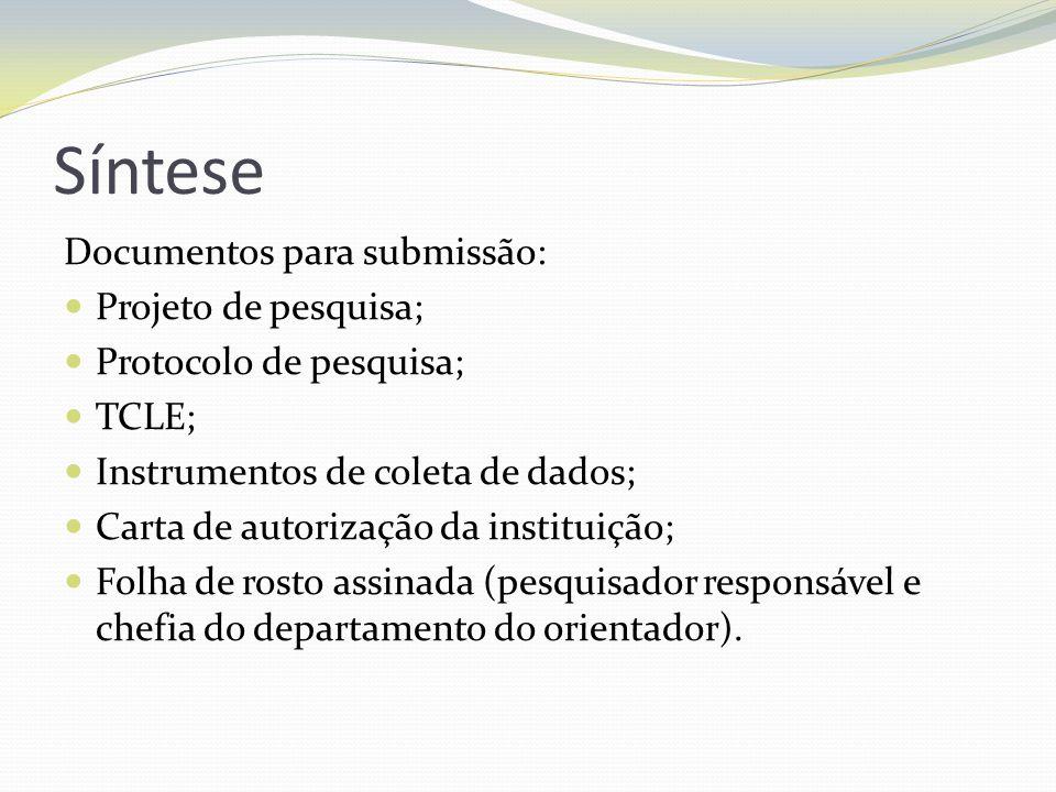 Síntese Documentos para submissão: Projeto de pesquisa; Protocolo de pesquisa; TCLE; Instrumentos de coleta de dados; Carta de autorização da institui