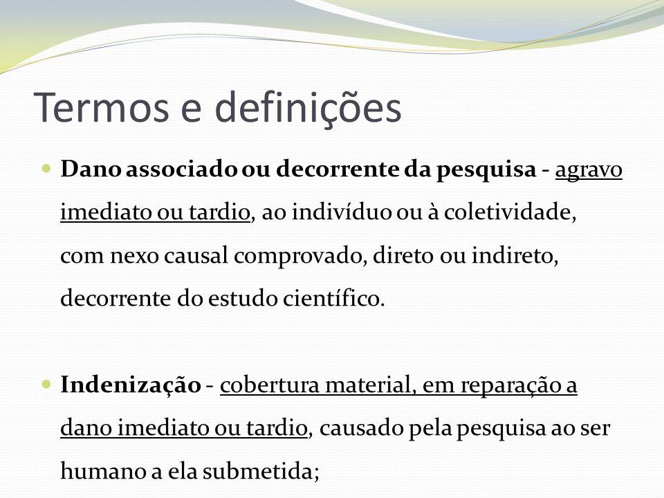Termos e definições Dano associado ou decorrente da pesquisa - agravo imediato ou tardio, ao indivíduo ou à coletividade, com nexo causal comprovado,