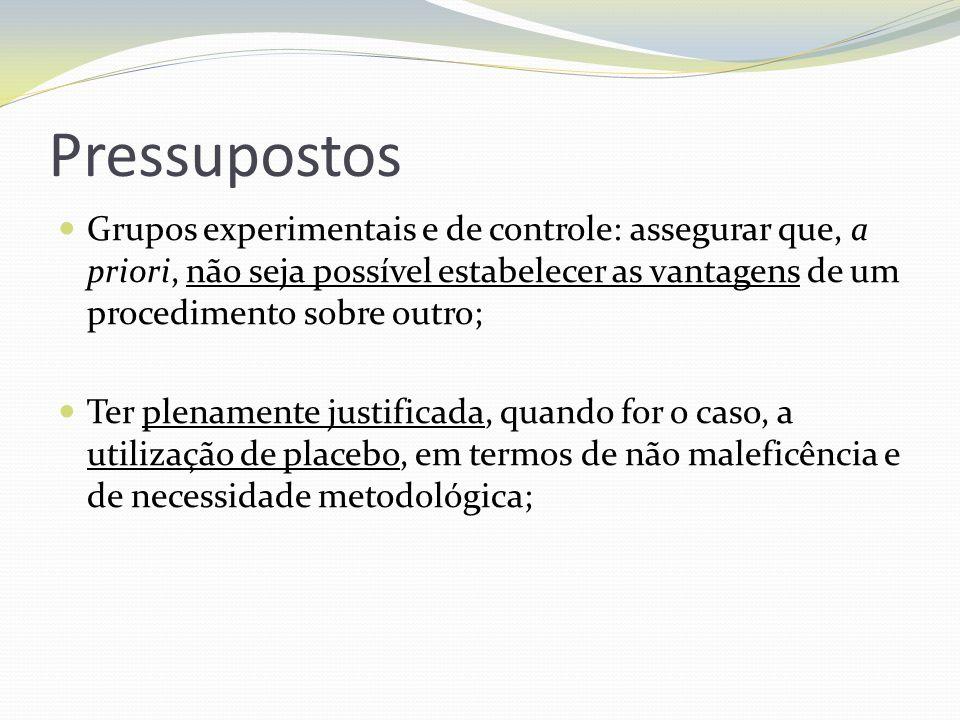 Pressupostos Grupos experimentais e de controle: assegurar que, a priori, não seja possível estabelecer as vantagens de um procedimento sobre outro; T