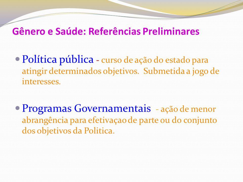 Gênero e Saúde: Referências Preliminares Políticas e Programas para Mulheres Políticas e Programas para Homens Políticas e Programas de Gênero Estudos de Gênero : 1.