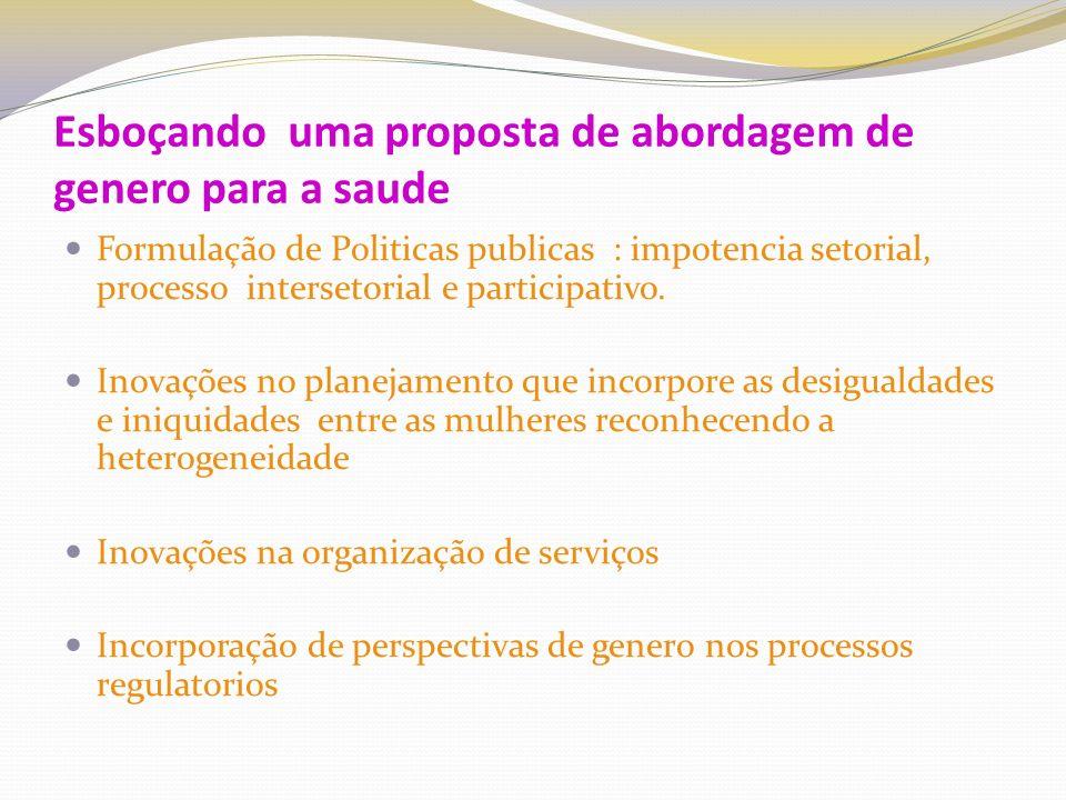 Esboçando uma proposta de abordagem de genero para a saude Formulação de Politicas publicas : impotencia setorial, processo intersetorial e participativo.