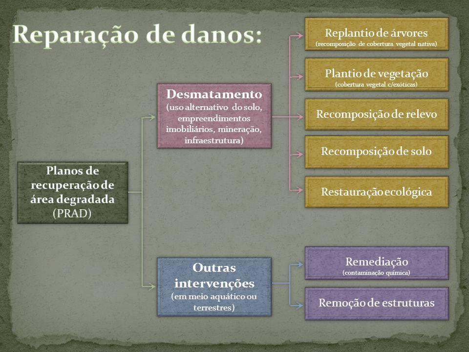 Desmatamento (uso alternativo do solo, empreendimentos imobiliários, mineração, infraestrutura) Desmatamento (uso alternativo do solo, empreendimentos