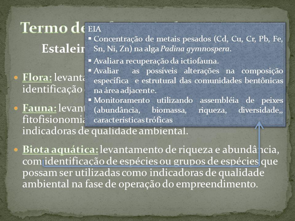EIA Concentração de metais pesados (Cd, Cu, Cr, Pb, Fe, Sn, Ni, Zn) na alga Padina gymnospera. Avaliar a recuperação da ictiofauna. Avaliar as possíve