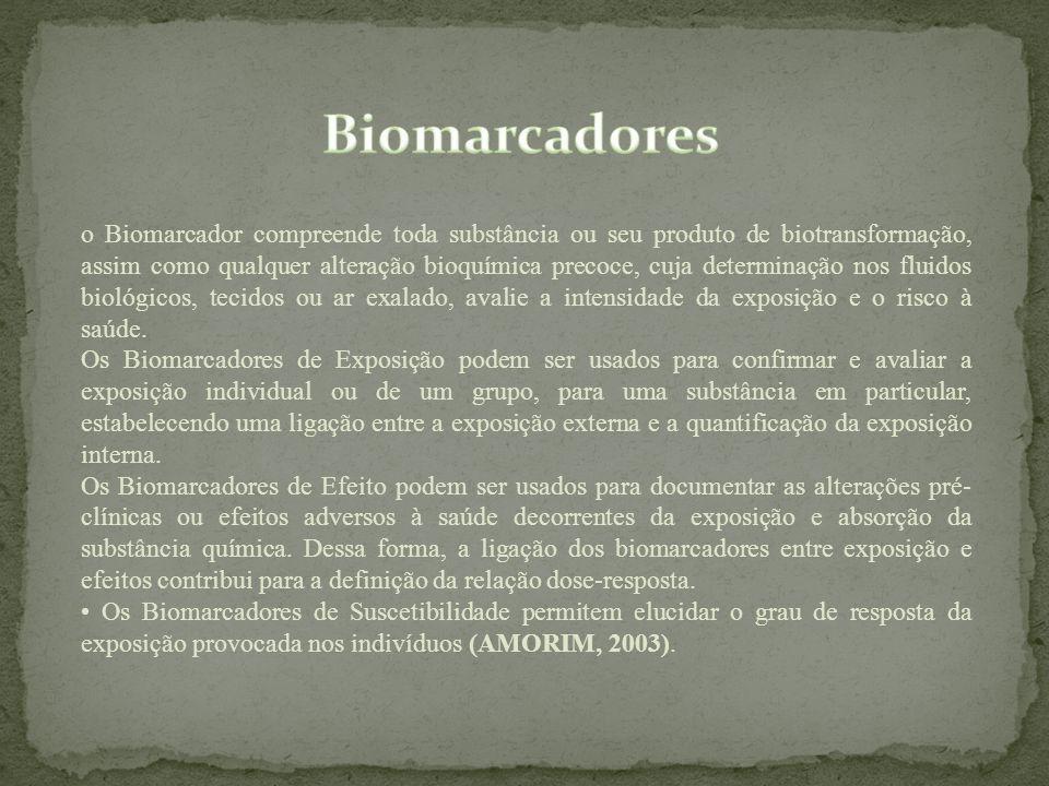 o Biomarcador compreende toda substância ou seu produto de biotransformação, assim como qualquer alteração bioquímica precoce, cuja determinação nos f