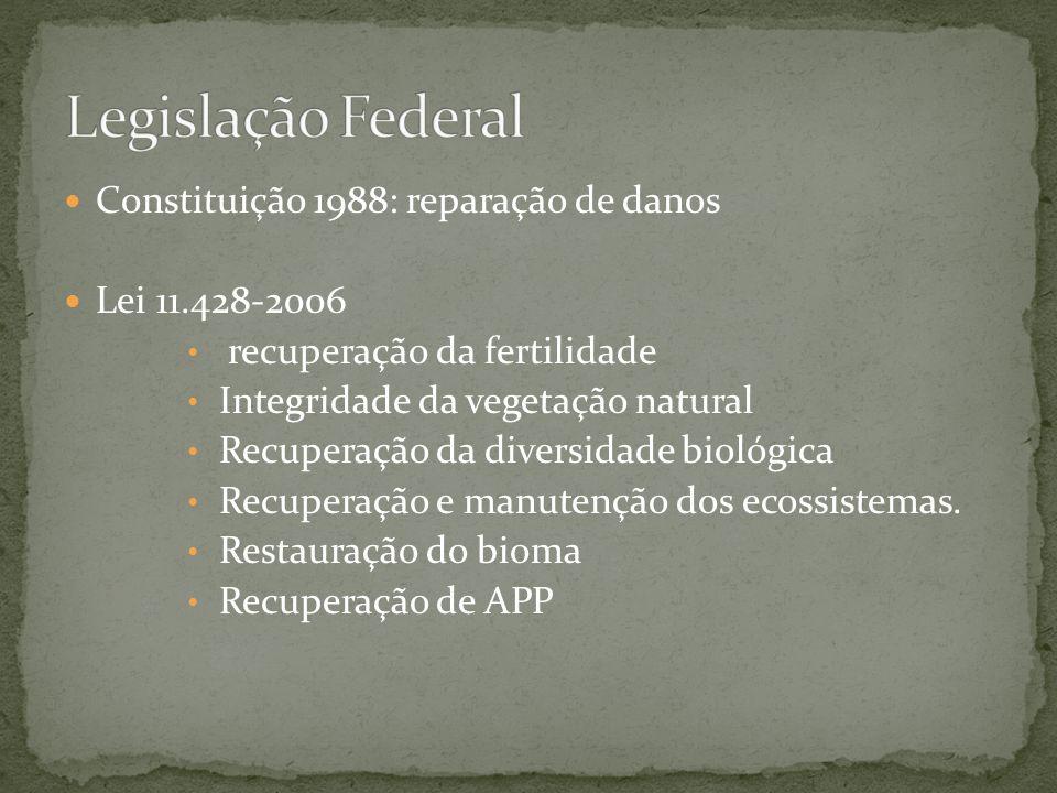 Constituição 1988: reparação de danos Lei 11.428-2006 recuperação da fertilidade Integridade da vegetação natural Recuperação da diversidade biológica