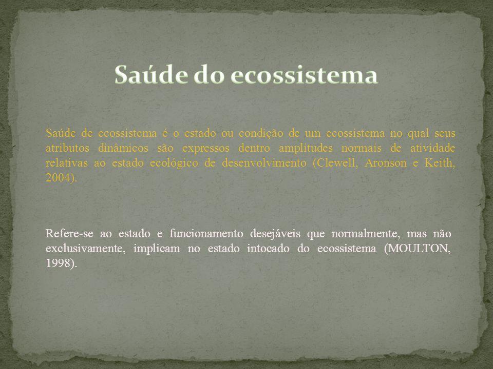 Saúde de ecossistema é o estado ou condição de um ecossistema no qual seus atributos dinâmicos são expressos dentro amplitudes normais de atividade re