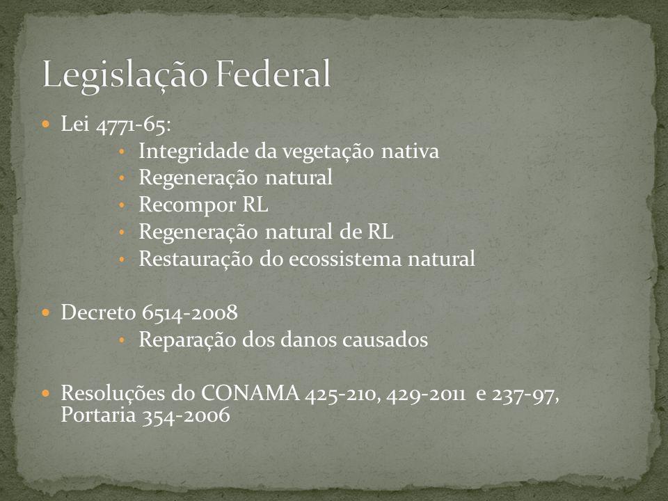 Lei 4771-65: Integridade da vegetação nativa Regeneração natural Recompor RL Regeneração natural de RL Restauração do ecossistema natural Decreto 6514