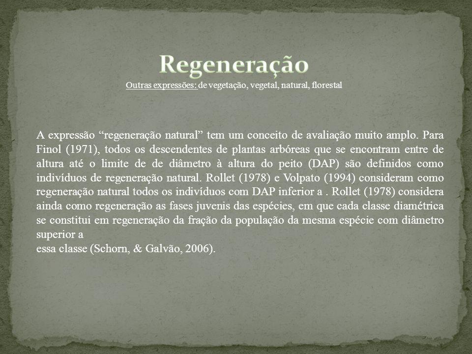 A expressão regeneração natural tem um conceito de avaliação muito amplo. Para Finol (1971), todos os descendentes de plantas arbóreas que se encontra