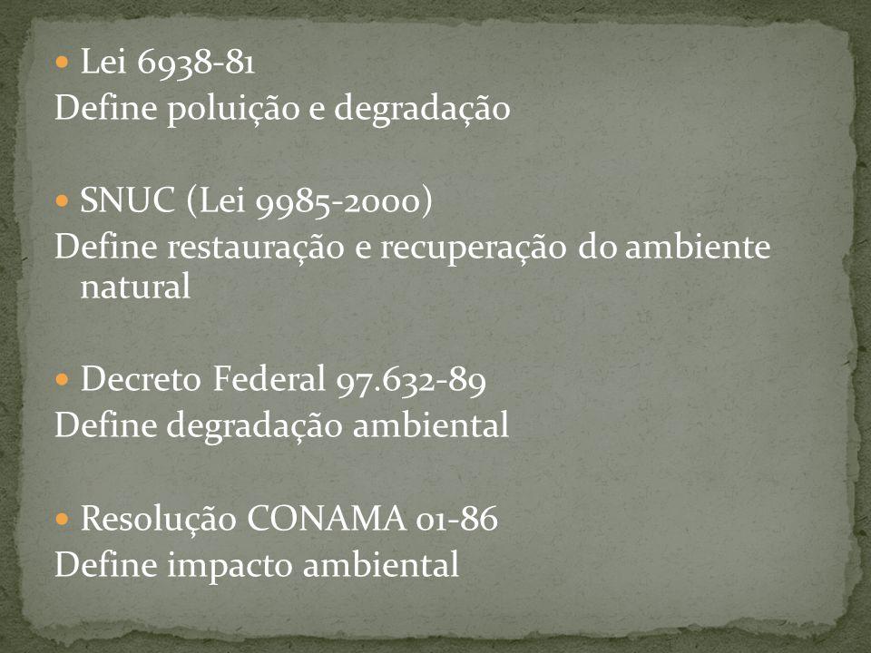 Lei 6938-81 Define poluição e degradação SNUC (Lei 9985-2000) Define restauração e recuperação do ambiente natural Decreto Federal 97.632-89 Define de