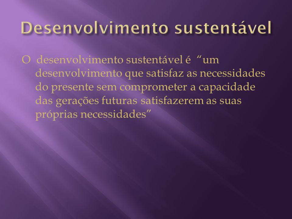 O desenvolvimento sustentável é um desenvolvimento que satisfaz as necessidades do presente sem comprometer a capacidade das gerações futuras satisfaz