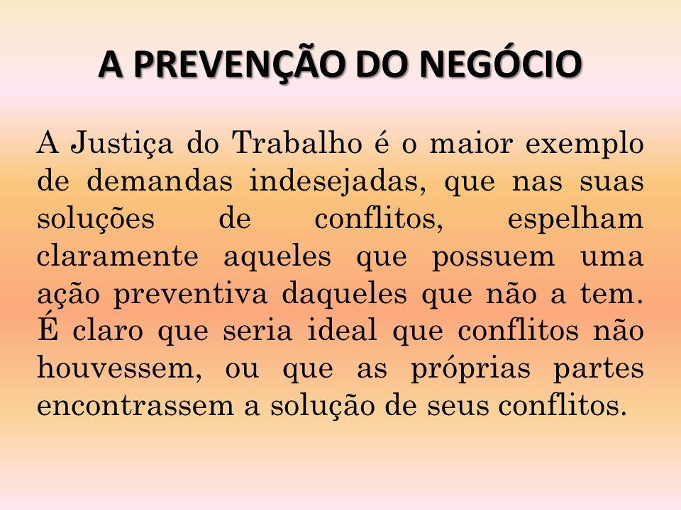 A PREVENÇÃO DO NEGÓCIO A Justiça do Trabalho é o maior exemplo de demandas indesejadas, que nas suas soluções de conflitos, espelham claramente aqueles que possuem uma ação preventiva daqueles que não a tem.