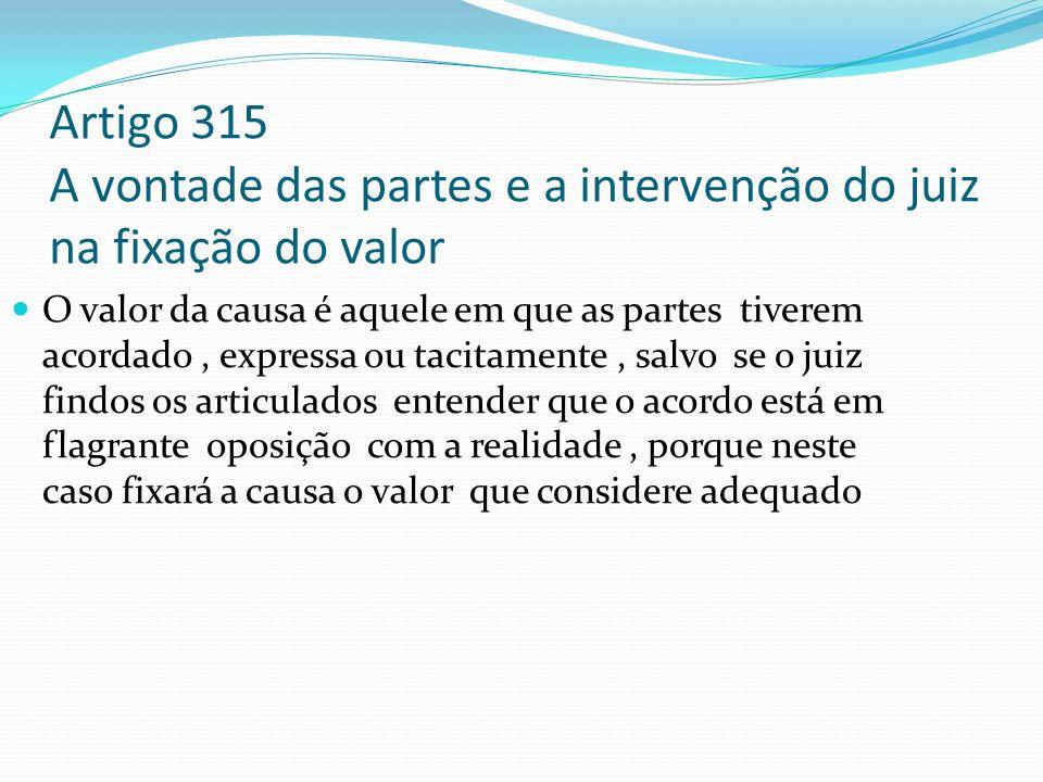 Artigo 315 A vontade das partes e a intervenção do juiz na fixação do valor O valor da causa é aquele em que as partes tiverem acordado, expressa ou t
