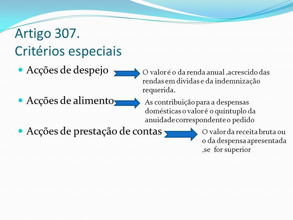 Artigo 307. Critérios especiais Acções de despejo Acções de alimento Acções de prestação de contas O valor é o da renda anual,acrescido das rendas em