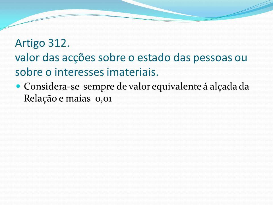 Artigo 312. valor das acções sobre o estado das pessoas ou sobre o interesses imateriais. Considera-se sempre de valor equivalente á alçada da Relação