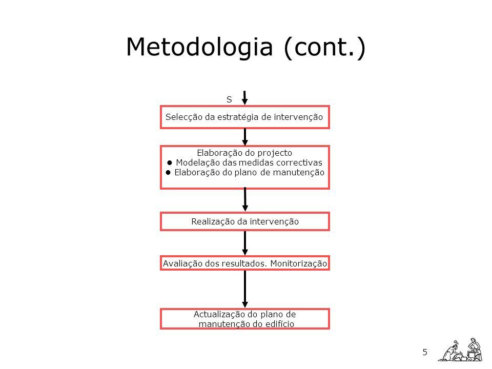 Elaboração do projecto Modelação das medidas correctivas Elaboração do plano de manutenção 5 Selecção da estratégia de intervenção Realização da inter