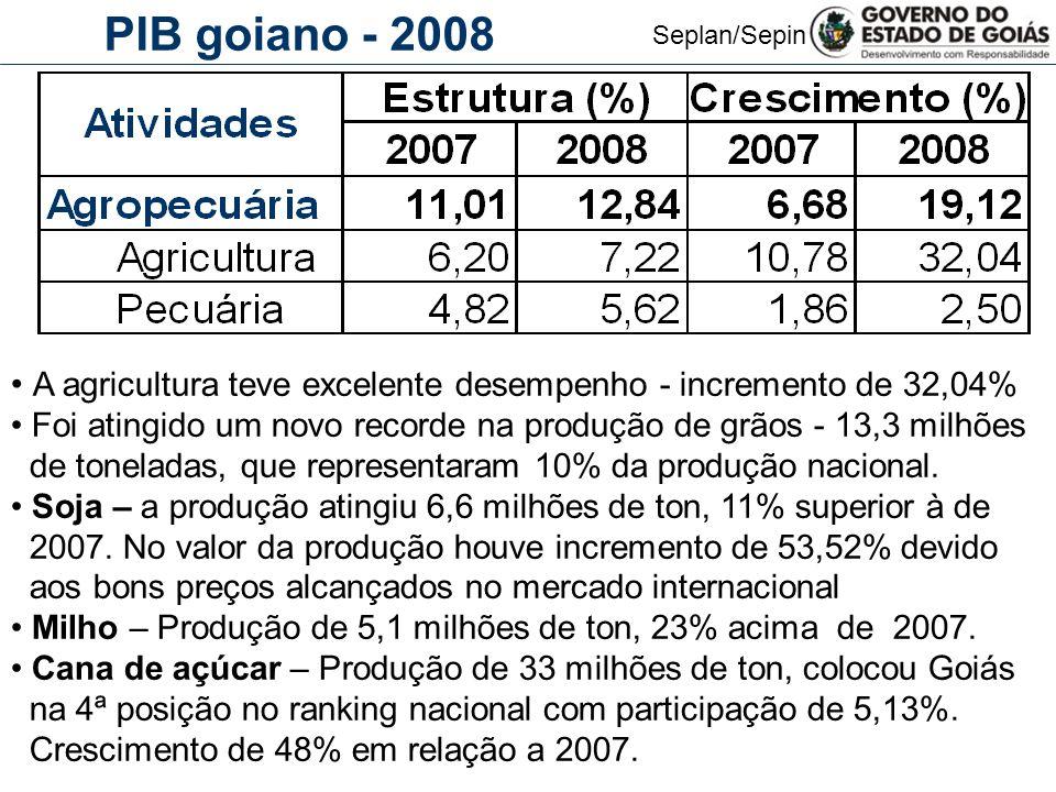 Seplan/Sepin PIB goiano - 2008 A agricultura teve excelente desempenho - incremento de 32,04% Foi atingido um novo recorde na produção de grãos - 13,3 milhões de toneladas, que representaram 10% da produção nacional.