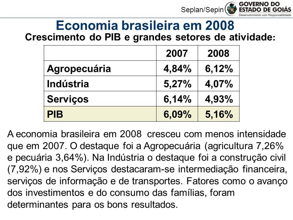 Seplan/Sepin A economia brasileira em 2008 cresceu com menos intensidade que em 2007.