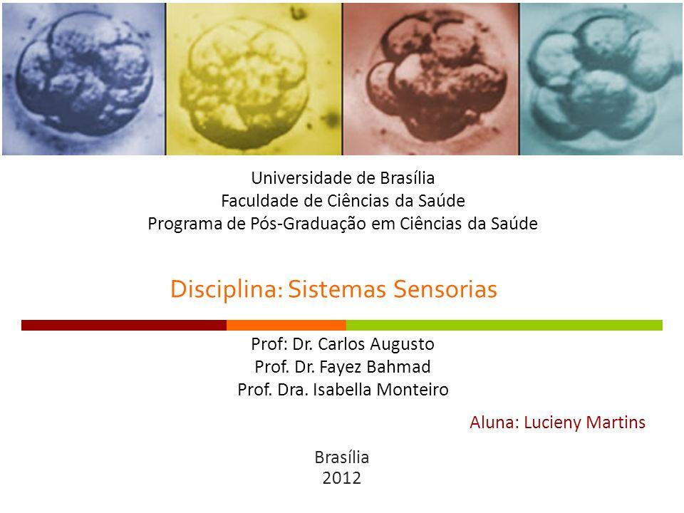 Disciplina: Sistemas Sensorias Aluna: Lucieny Martins Brasília 2012 Universidade de Brasília Faculdade de Ciências da Saúde Programa de Pós-Graduação